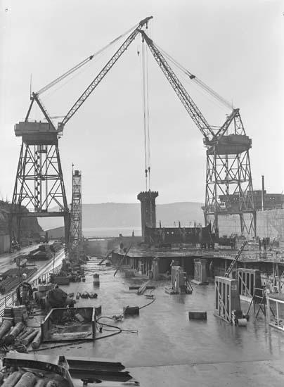 Hängning av första sektionen. Fartyg nr 204 T/T Asa V. Call.