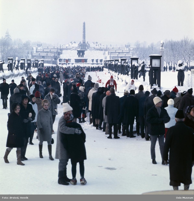 skulpturpark, mennesker, snø, skirenn, Monolittrennet