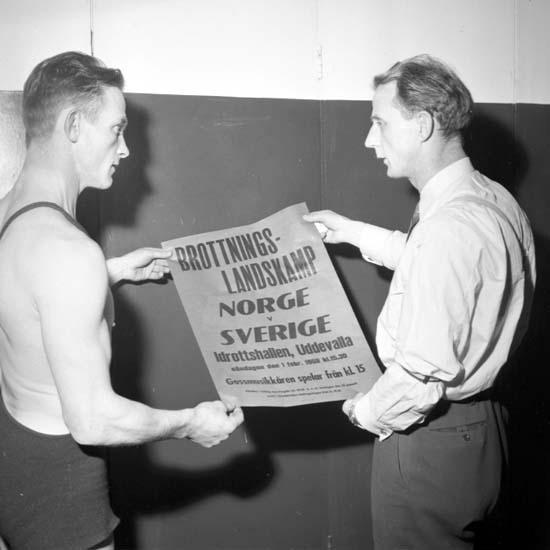 """Enligt notering: """"Träningsbilder brottning d 26/1 -59""""."""