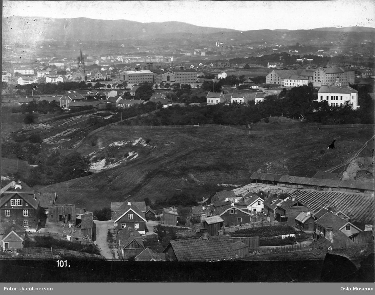 utsikt nordvest, trehusbebyggelse, kulturlandskap, bygårder, Grønland kirke, Botsfengslet, Christiania aktiebryggeri
