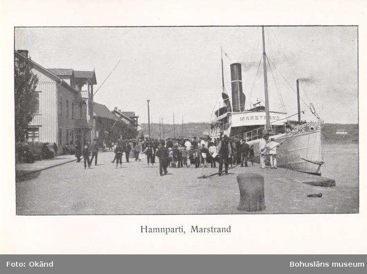 """Tryckt text på kortet: """"Hamnparti, Marstrand.""""  ::"""
