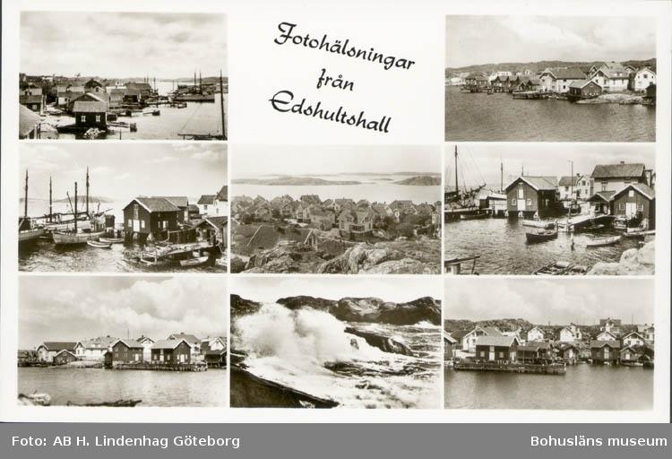 """Tryckt text på kortet: """"Fotohälsningar från Edshultshall."""" """"Förlag: Firma H. Lindenhag, Göteborg."""""""