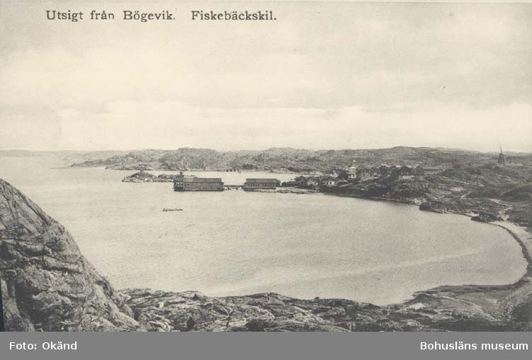 """Tryckt text på kortet: """"Utsigt från Bögevik. Fiskebäckskil."""""""