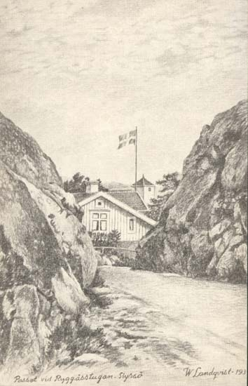 "Tryckt text på kortet: ""Passet vid Ryggåsstugan - Styrsö.""  ""W. Landqvist. 39."""