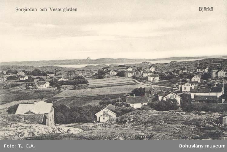 """Tryckt text på kortet: """"Sörgården och Vestergården. Björkö."""" """"Förlag: Aktiebolaget Göteborgs Konstförlag."""""""