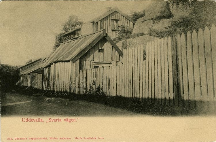 """Tryckt text på vykortets framsida: """"Uddevalla, Svarta vägen.""""  ::"""