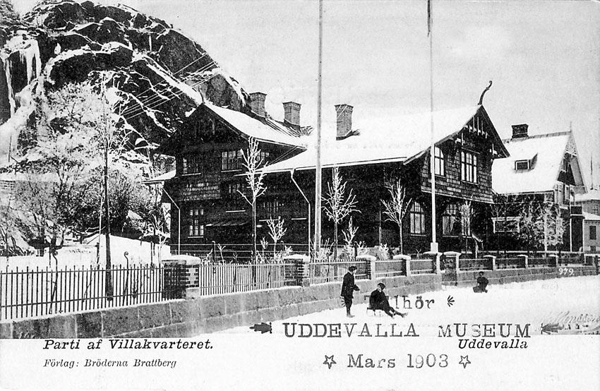 """Tryckt text på vykortets framsida: """"Uddevalla. Willagatan"""".    ::"""