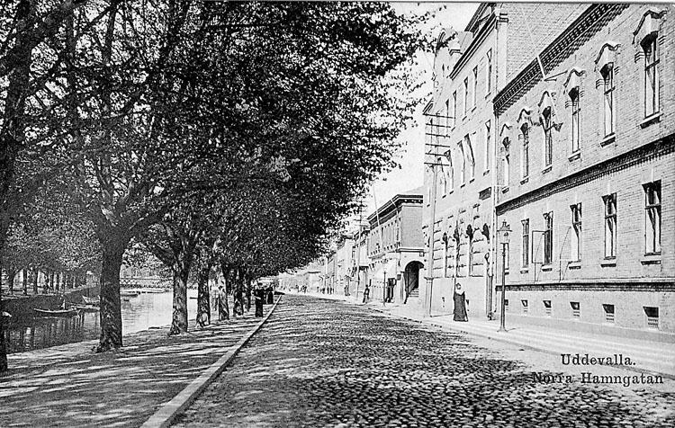 """Tryckt text på vykortets framsida: """"Uddevalla Hamngatan""""."""