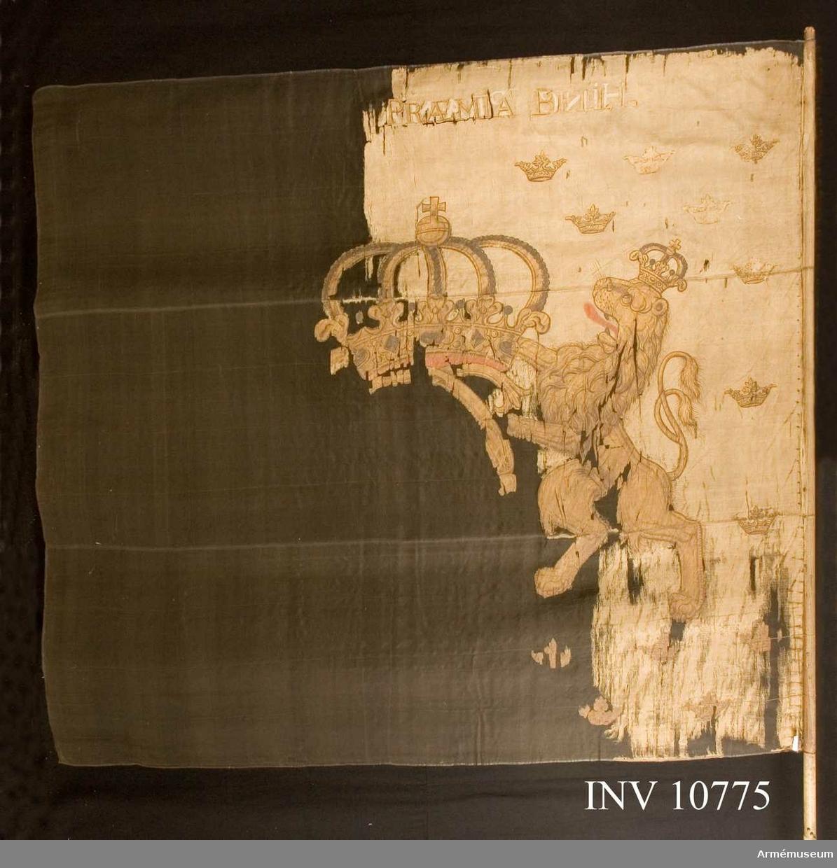 Grupp B. Av vitt taft, varpå målat i guld, lika på båda sidor, Carl XI:s namnchiffer, stort dubbelt C under stor, sluten kunglig krona med rött innerfoder. Namnchiffret hålles av två krönta lejon med röda tungor. På botten små, strödda öppna kronor. Fäst med starkt kupiga, förgyllda spikar och sidenband i vitt och gult som fortsätter tätt lindat om stången 38 cm ned, fäst med i spiral gående rader av spikar.