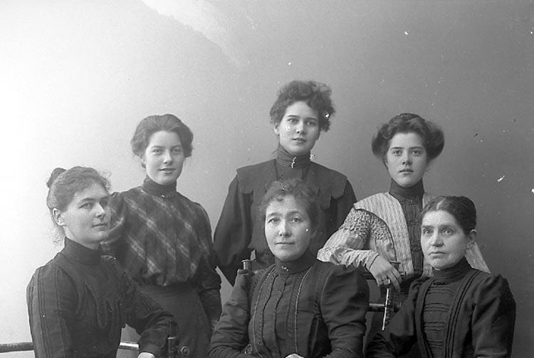 """Enligt fotografens journal nr 1 1904-1908: """"Landberg Familjerna Stenungsund""""."""