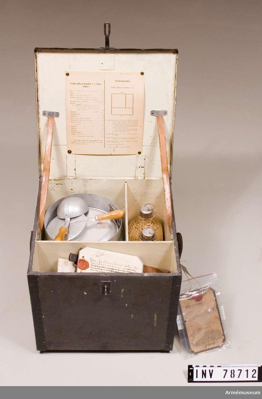 Grupp: I: III. Modell å underofficerskantin (kokservis för underofficer) m/1898, gillad och fastställd genom nådig g.o. den 2. juli 1898 n:r 765. Samhörande:  Ask av aluminium för gryn, kaffe och socker, tillbehör till kantin m/1898, und off. Jämlikt g.o. den 9. juli 1898 n:r 765. Bägare 5 st. Dosor för salt och kryddor, 2 st. Pepparflaska rymmande 0:1 liter. Överklädda glasflaskor, rymmande 1 liter, 2 st. Förskärarekniv jämte gaffel. Prov å förskärarekniv att tjäna till efterrättelse vid leverans. År 1917. Arbetsmodell å gaffel, förskärare-. År 1923. Kastrull med rörligt handtag, att användas som stekpanna, (tillika lock åt den större kitteln.) Kokkittel, större. Kokkittelgrepe. Korkskruv, arbetsmodell, till kantin, officers- och sergeants- en mans. Stockholm den 10. november 1923. Lock till mindre kokkittel. Tillbehör till kantin m/1898, underofficers- jämlikt g.o. den 9. juli 1898 n:r 765. Servisbestick (gaffel, kniv och sked) 5 satser. Skumslev. Soppslev. Smörask. Tallrikar, 5 st. Teskedar, 5 st Väska för handdukar. Väska för förskärarekniv och gaffel. Kokkittel mindre, med lock, till underofficerskantin, att lända till efterrättelse vid leverans enligt kontrakt den 10. mars med Svea glasmagasin 200 st. dylika kokkittlar. Stockholm 24. mars 1914. Kantin, underofficers-, m/1915.