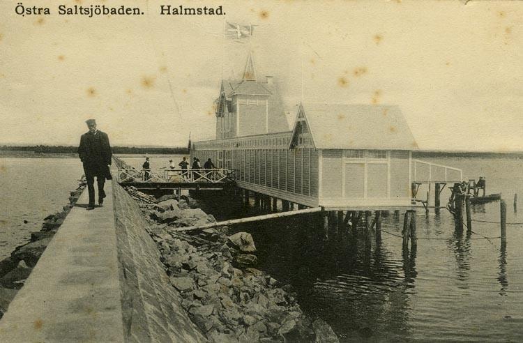 Notering på kortet: Östra Saltsjöbaden. Halmstad.