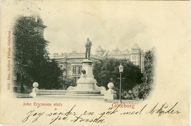 Notering på kortet: Göteborg. John Ericssons staty.