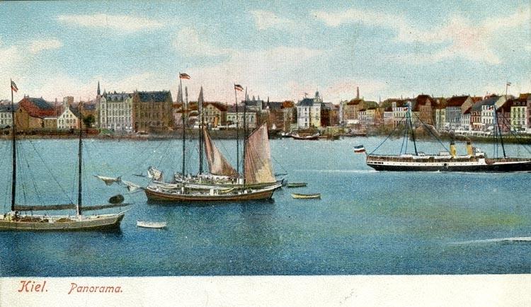 Notering på kortet: Kiel. Panorama.