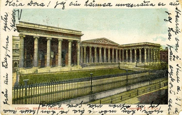 Notering på kortet: London British museum.