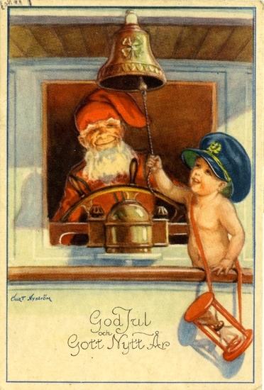 """Kort: """"God Jul och Gott Nytt År"""". Barn ombord på båt som ringer in det nya året med en tomte vid ratten."""