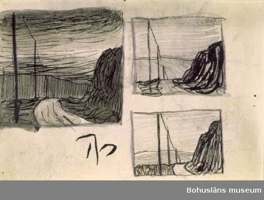 """""""Tre skisser, landsväg med telefonledning."""" Jämför RL457 etsning och RL293 teckning. Tillkomstort  Mollösund, För uppgifter om konstnären Ragnar Ljungman, se RL001."""