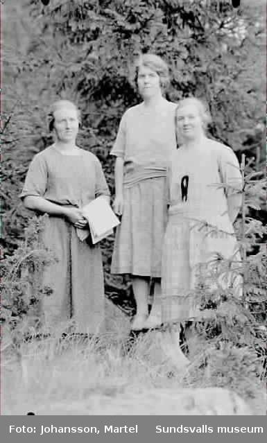 Tre kvinnor i skogsmiljö. Ev systrarna Persson.