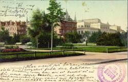 En svit vykortsmotiv från Sundsvall. Skolusallén, Parti av S
