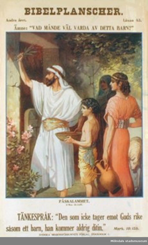 """Kristendomskunskap.Bibelplanscher: """"Vad månde väl varda av detta barn?""""Påsklammet (2 Mos. 12:3-20)."""