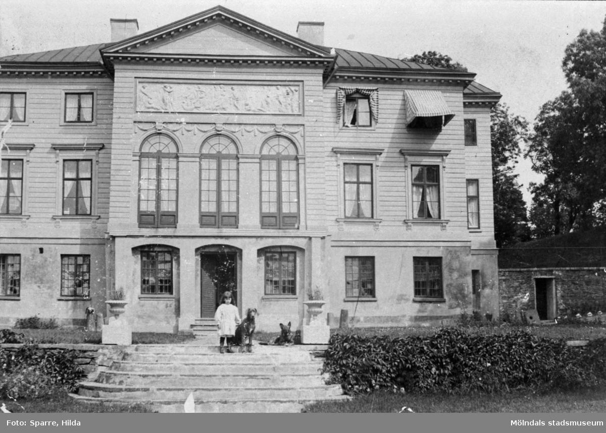 Gunnebo slott i Mölndal. Södra sidan. På trappan står en flicka med två hundar. Fotograf Hilda Sparre? År 1894?