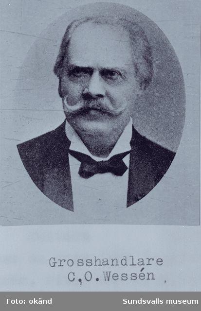 Porträtt på grosshandlare Carl Olof Wessén. Rastrerat foto.