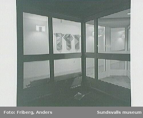 """Alnö servicehus korridor 1991. """"Jord, luft och tidsrymd""""av Anita Wohlén"""