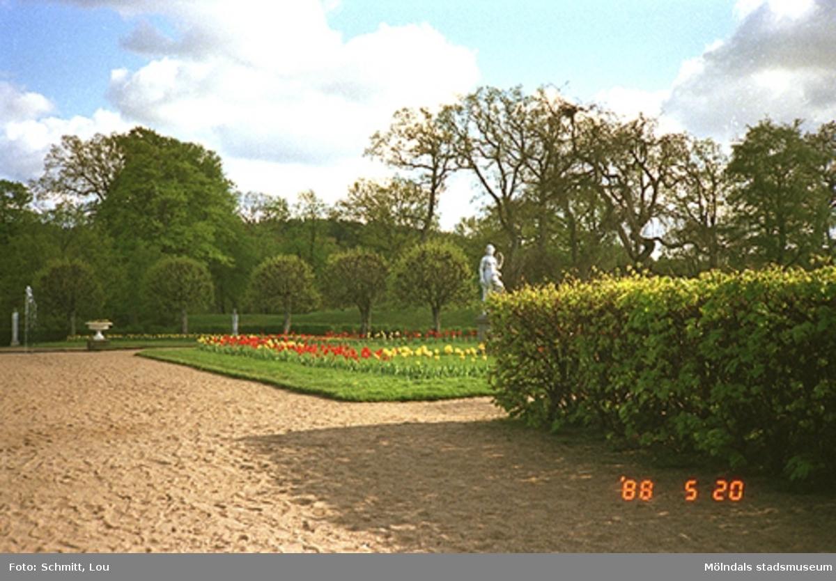Del av blomsterrabatt där det står en skulptur, och en häck i Gunnebo slottspark.