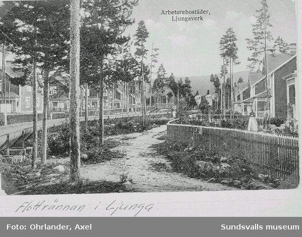 Flottningsränna från Johannisberg dragen mellan arbetarbostäderna i Ljungaverk. Rännan var ca 150 cm bred, konstruerad av ihopnitade plåtar. Den årstid då Ljungans vatten gick genom kraftstationens tub fanns behov av en fltottningsränna genom Ljungaverk. En rännvakt kontrollerade rännan medan flottningen pågick. Småved följde med i rännan och togs tillvara som husbehovsved av de boende, med hjälp av båtshake. Att hoppa upp i rännan var förenat med fara; bl.a. förolyckades två barn.