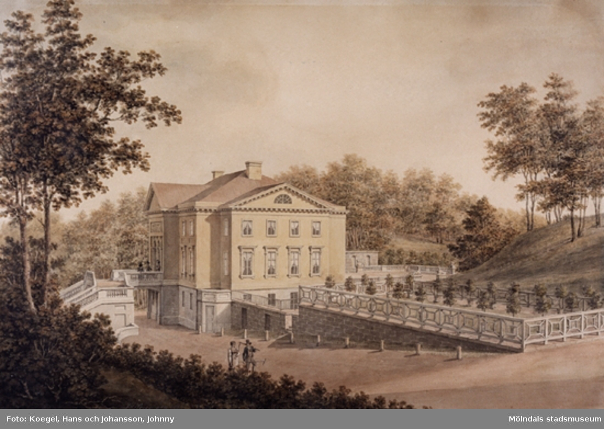 Akvareller av J.F Weinberg, utförd ca:1795 -1823. Motiv Gunnebo slott och trädgårdar.