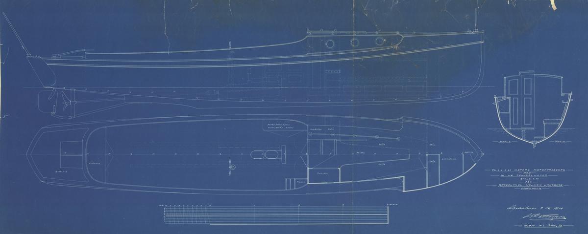 Inredningsritning i profil, plan och sektion