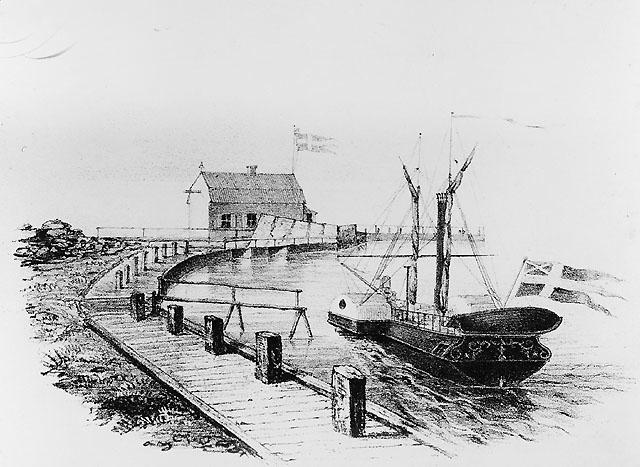 Postångfartyget Activ i Visby hamn. Activ gick mellan fastlandet (Västervik) och Gotland. I postverkets ägo 1840-1851.