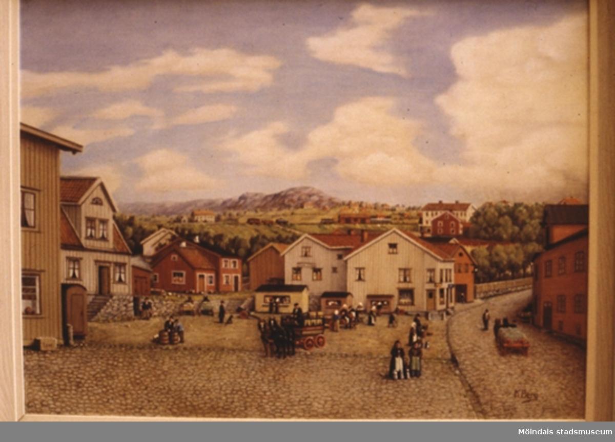 Gamla torget i Kvarnbyn, Mölndal.En tavla målad av den naivistiske mölndalskonstnären Knut Berg.