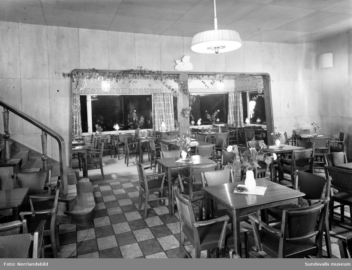 Interiör från serveringen på Norra berget.