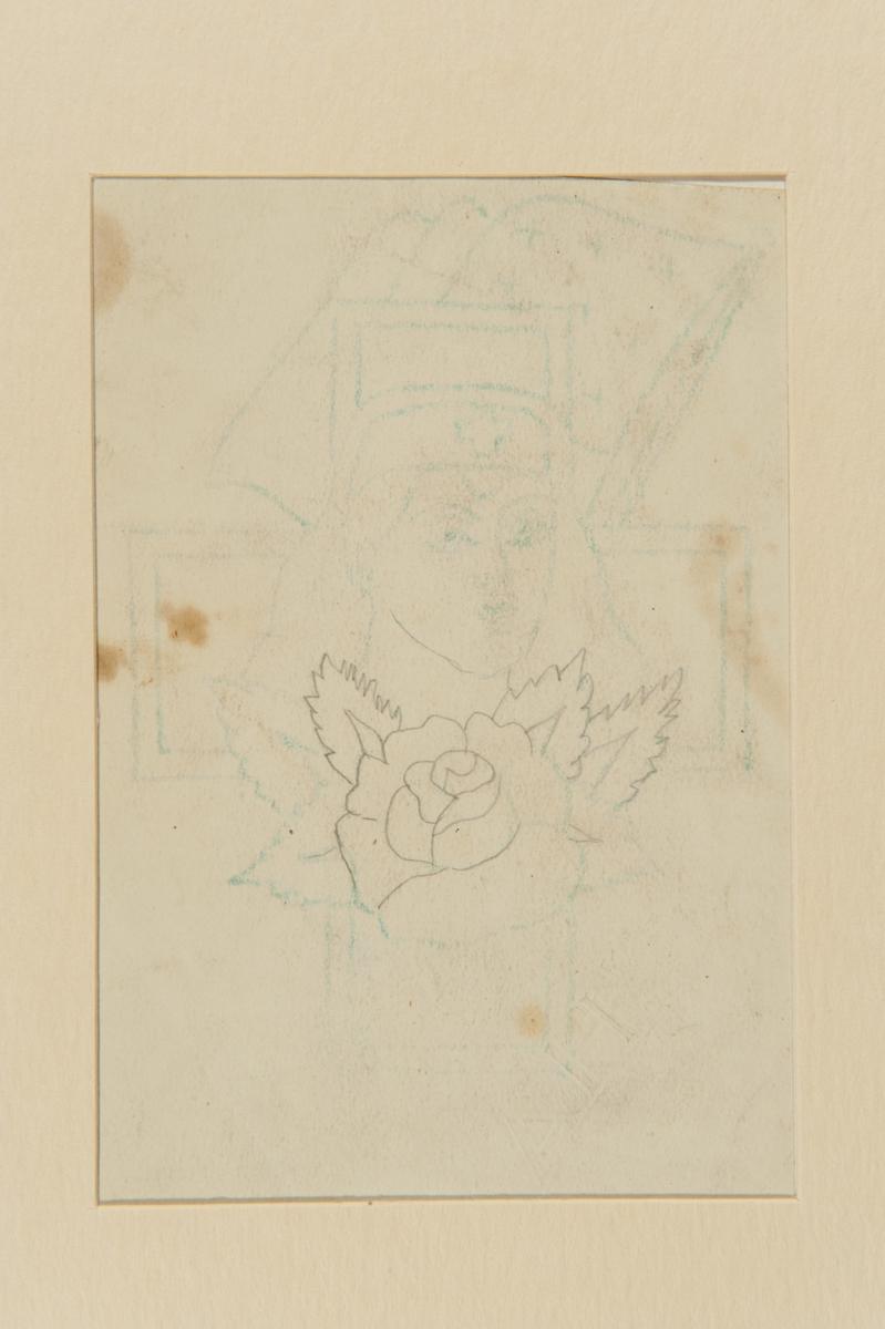 Tatueringsförlaga. Ett porträtt av en sjuksköterska mot bakgrund av ett kors och en amerikansk flagga. I förgrunden en ros.