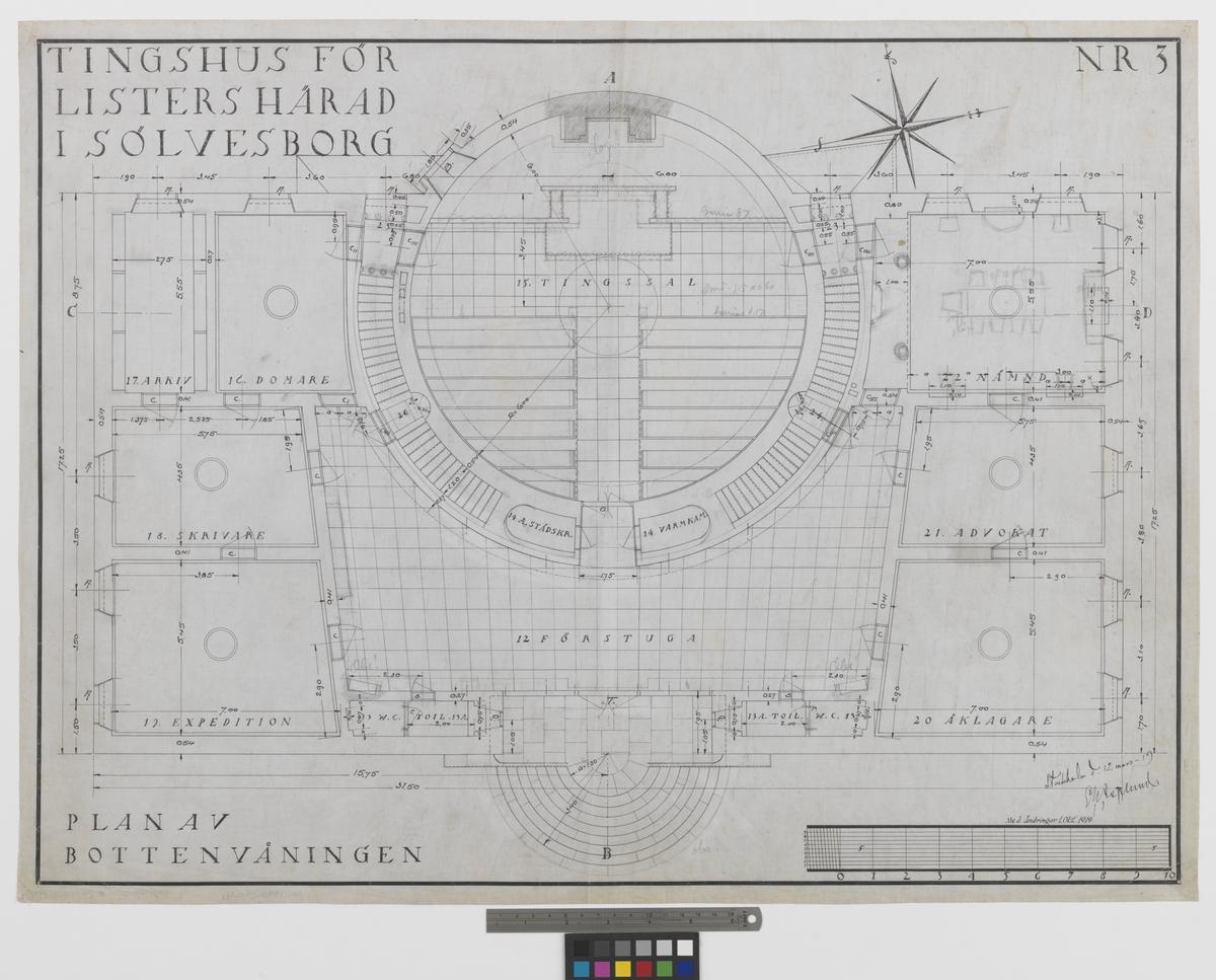 Listers härads tingshus Plan bottenvåning