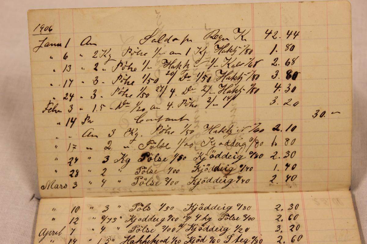 """En regnskapsbok med kjøp av kjøttvarer fra slagter """"Tobiassen"""" i Mandal. (Kjøttvarer som Karl Homme solgte i butikken sin i hus nr.12 på Svinør)"""