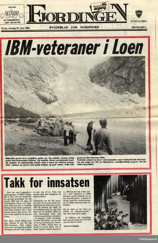 IBM - veteraner i Loen 1984 - 25 års klubb - avisutklipp
