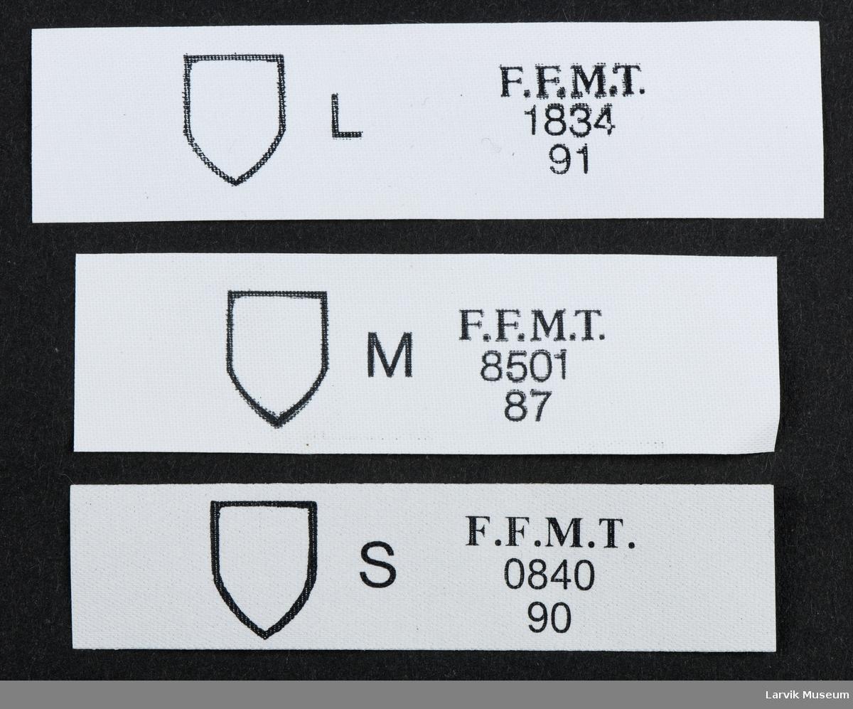 Logo: emblem/skjold. F.F.M.T.  S 840, 90.  M 8501, 87.  L 1834, 91