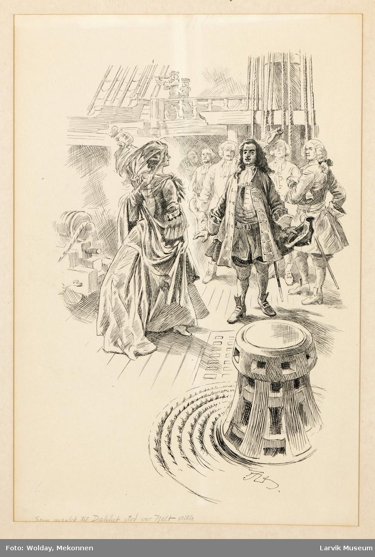 """Utenfor Gøteborg 1717. """"Som naglet til dekk stod vor Helt stille""""."""