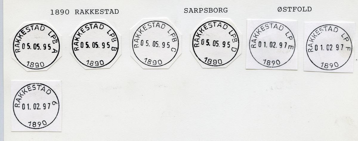 Stempelkatalog 1890 Rakkestad, Sarpsborg, Østfold