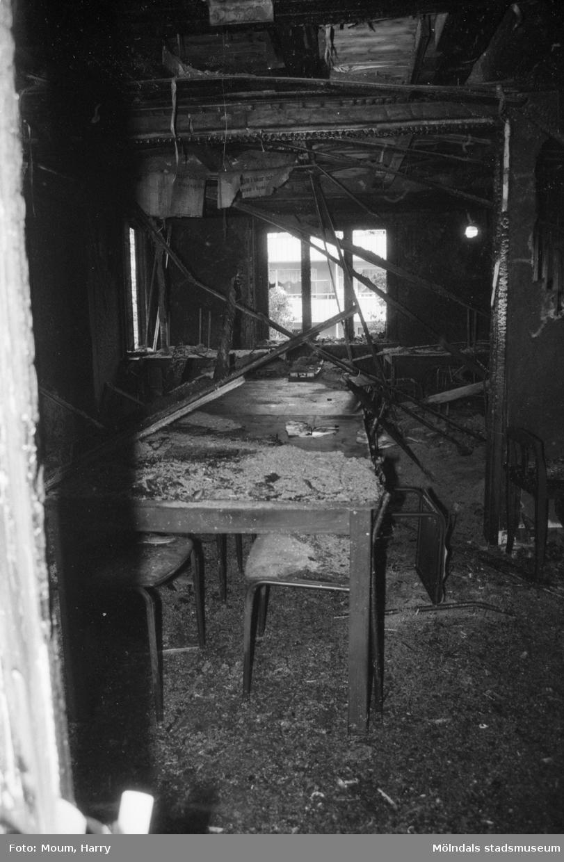 """Eldsvåda på mölndalslänkarnas gård i Kållered, år 1984. """"Där elden farit fram är inte mycket kvar.""""  För mer information om bilden se under tilläggsinformation."""