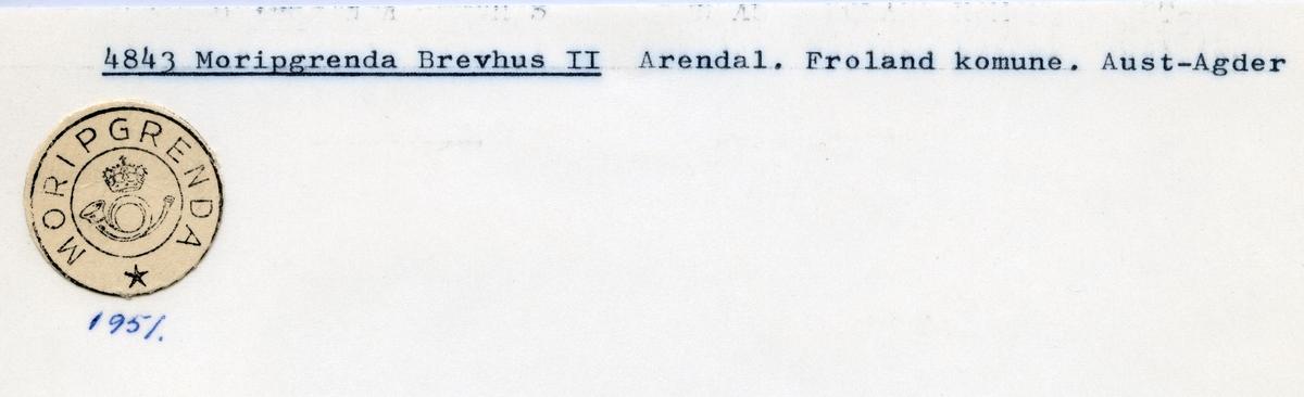 Stempelkatalog  4843 Moripgrenda, Froland kommune, Aust-Agder