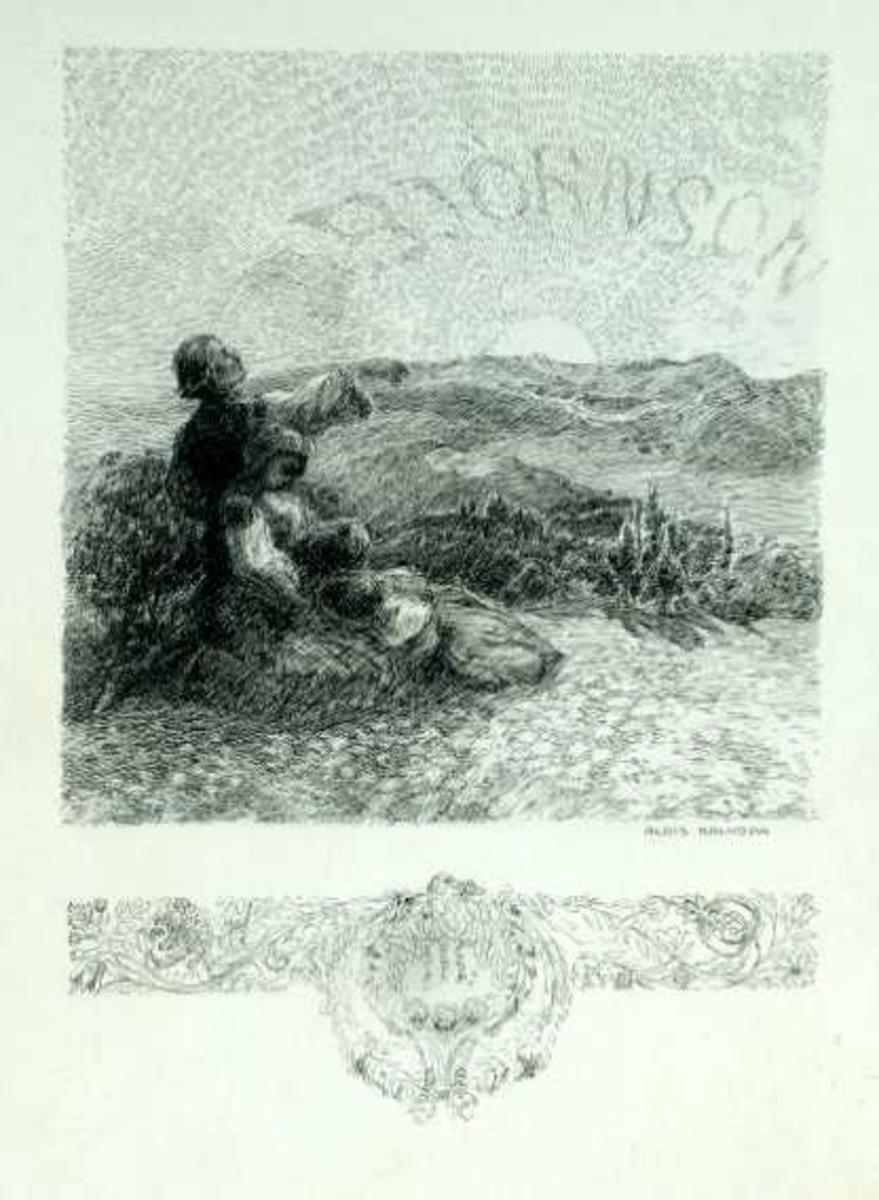 Flere motiv, blant annet en liten familie som stirrer mot soloppgangen hvor navnet Bjørnson runder seg på himmelen.