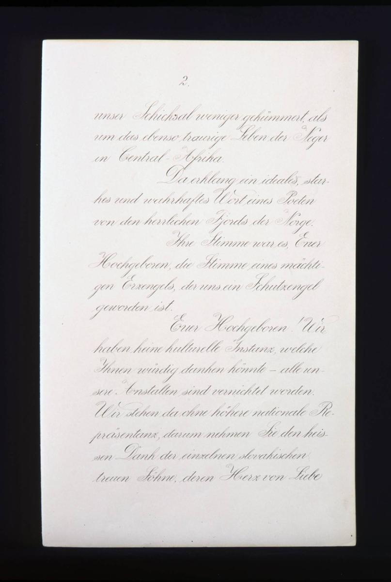 Adresse med blå perm. Forsiden har en blomsterbord og skrift i gull. Blomstrete papir innside. Adressen har 15 sider og er skrevet på tysk. Underskrifter over 12 sider.
