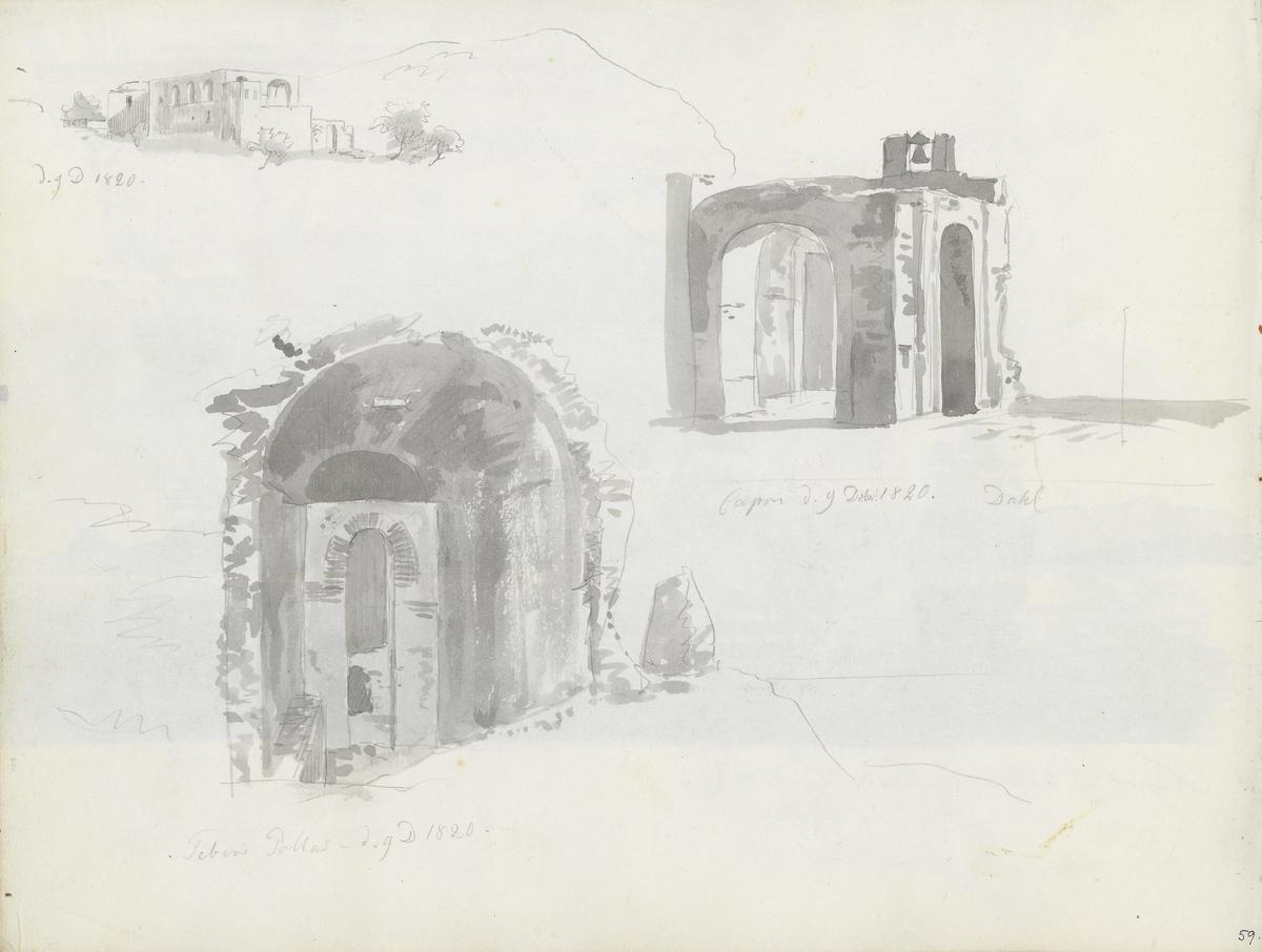 Bygninger; ruiner, Villa Jovis, Capri [Tegning]