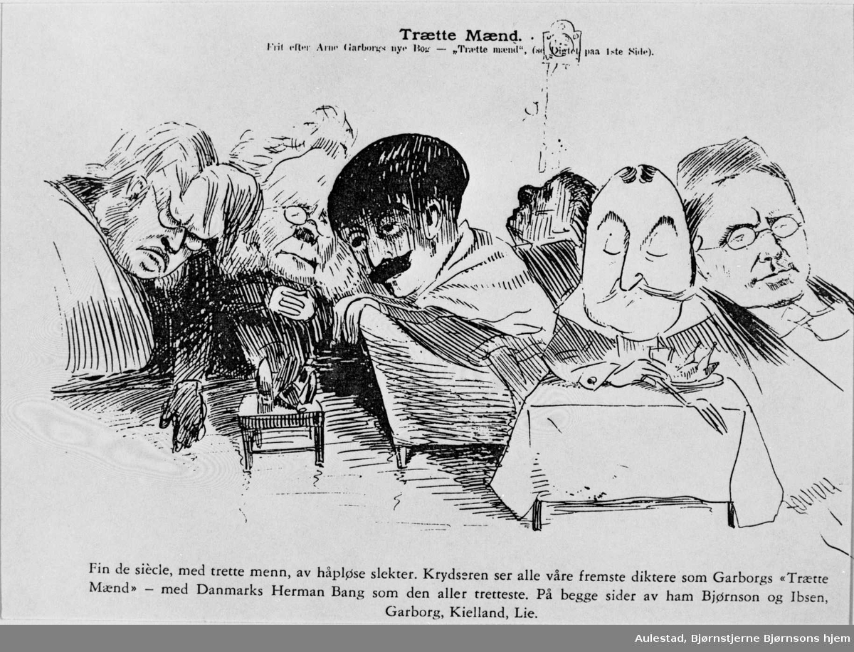 Karikatur, Bjørnson, Ibsen, Garborg, Kielland, Lie, Bang,