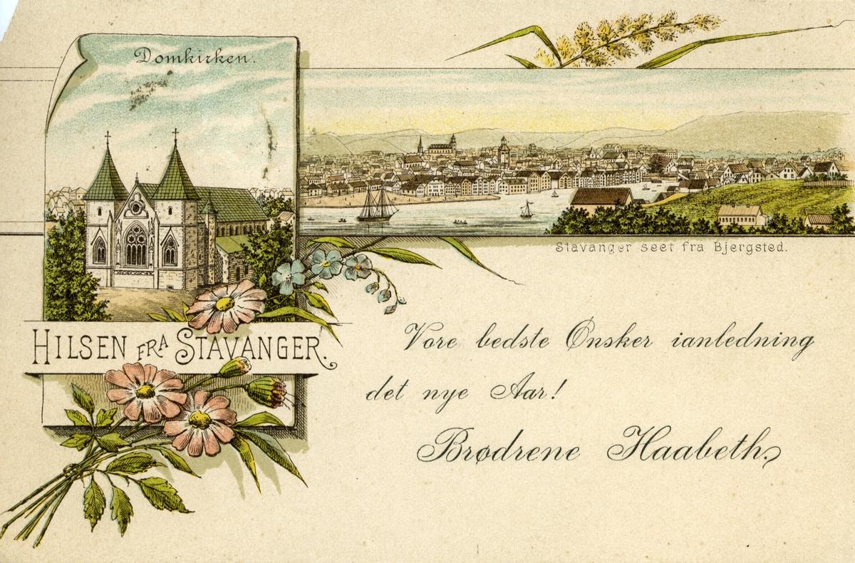 Tegnet kort fra Stavanger, hilsen til Bjørnson,