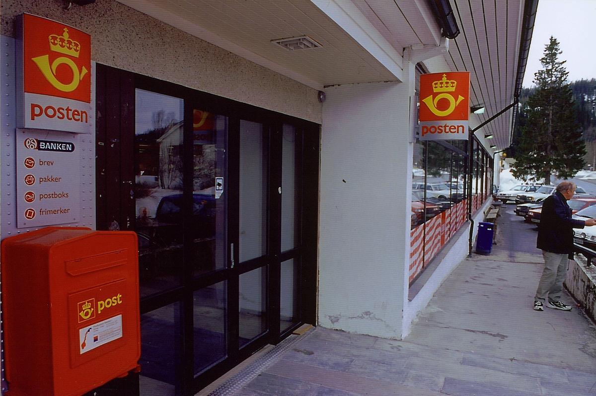 eksteriør, post i butikk, Trofors, profilskilt, Coop butikk