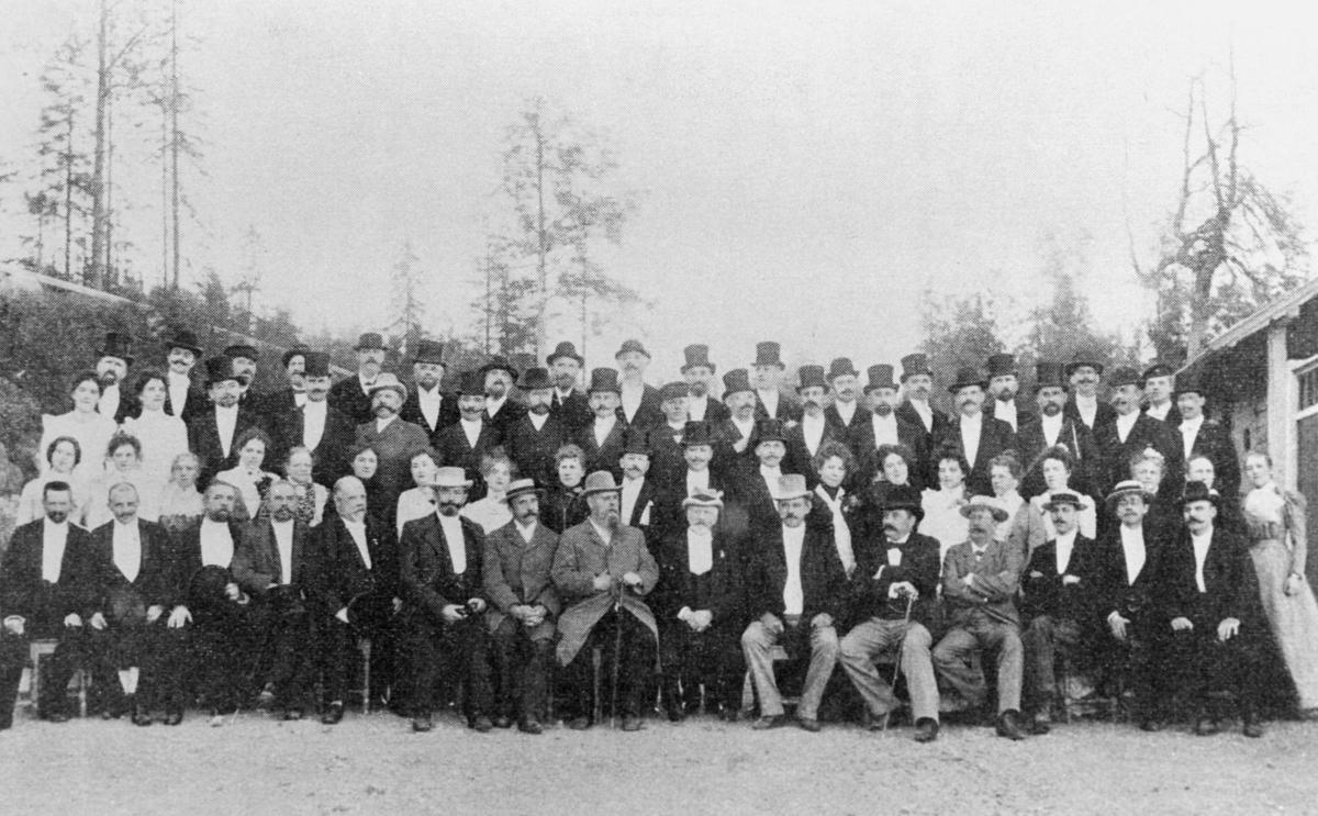 gruppebilde, landsmøtet, 1900, fest på Wilhelmsøi, eksteriør